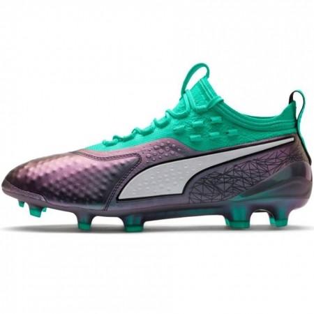 Buty piłkarskie Puma One 1 IL Lth FG AG szaro zielone 104925 01